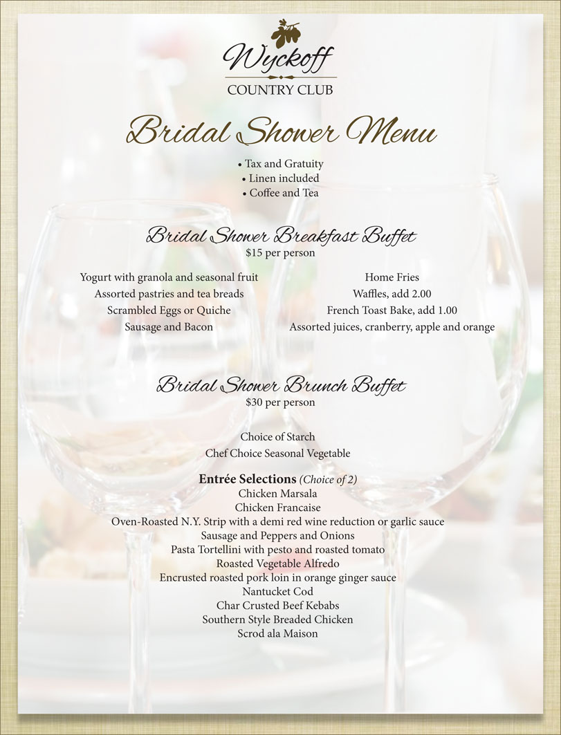 Bridal Shower Menu - Wyckoff Country Club