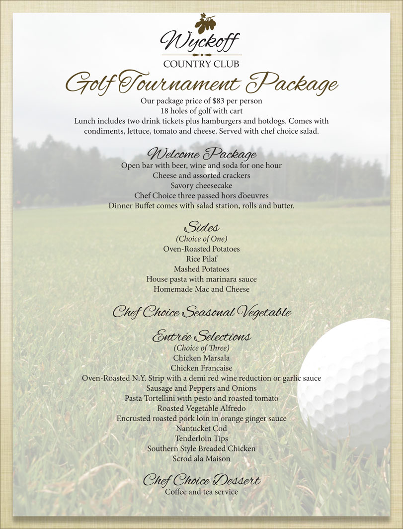 Golf Tournament Menu - Wyckoff Country Club