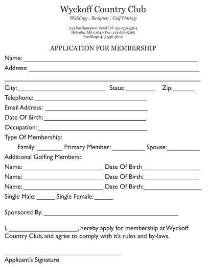 Membership Application - Wyckoff Country Club