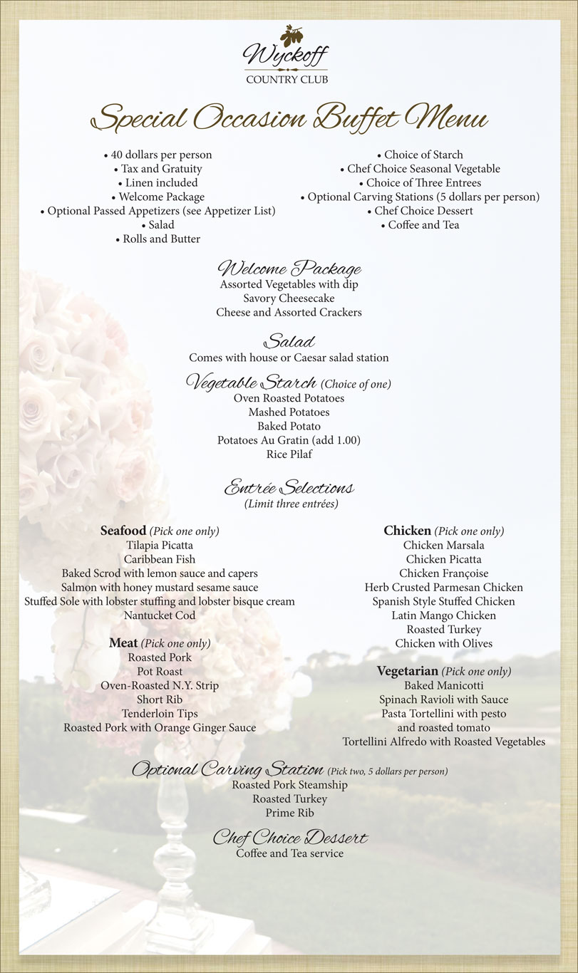 Special Occasion Buffet Menu - Wyckoff Country Club
