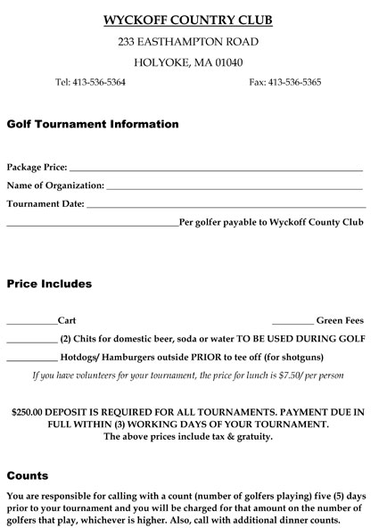 Tournament Application - Wyckoff Country Club